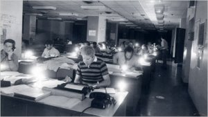 The newsroom of The New York Times the night of the July 1977 blackout in New York City.